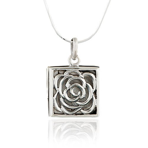 925-Oxidized-Sterling-Silver-Rose-Square-Locket-Pendant-Necklace-18-inch-Snake-Chain