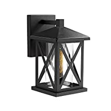 Harriet Outdoor Wall Lanterns Light, 1 Light Exterior Wall Sconce Porch Light, 10.3 inches Industrial Wall Mounted in Matte Black Finish with Cylinder Clear Glass Shade, HOWL01B