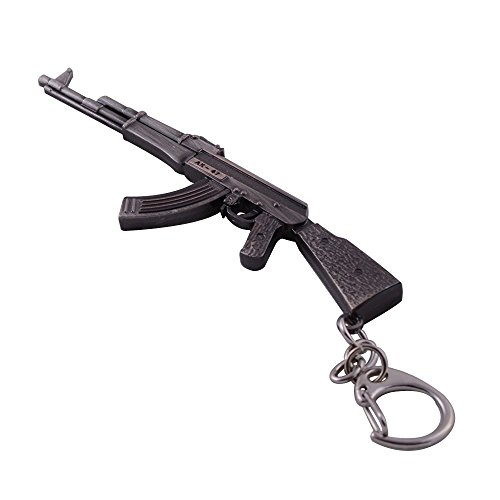 Mallofusa Miniature Gray Metal Ak47 Assault Rifle Gun Model Keychains Key Rings Bag Pendant