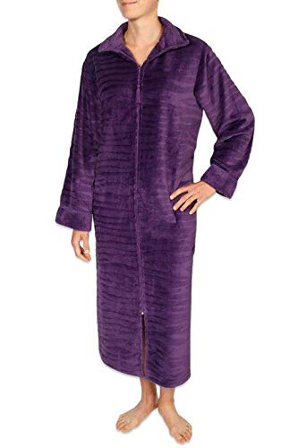 - Miss Elaine Women's Long Robe - Brushed Fleece Material. with Long Sleeves and a Breakaway Zipper Front Plum