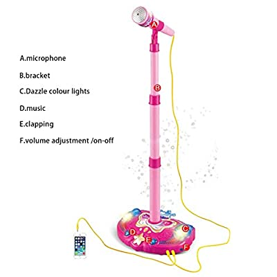 Forart Kids Karaoke Machine Child's Karaoke Toy Stand Up Microphone Play Set Built-in MP3 Player, Speaker: Home Audio & Theater