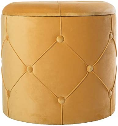 Bold Tones Round Wooden Velvet Ottoman Stool