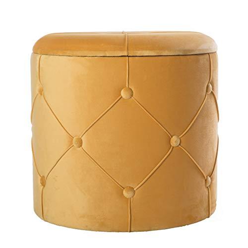 Bold Tones Round Wooden Velvet Ottoman Stool with Lid, Yellow,
