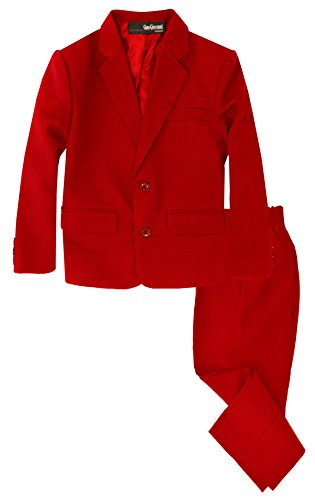 G218 Boys 2 Piece Suit Set Toddler to Teen (Large/12-18 Months, Red)