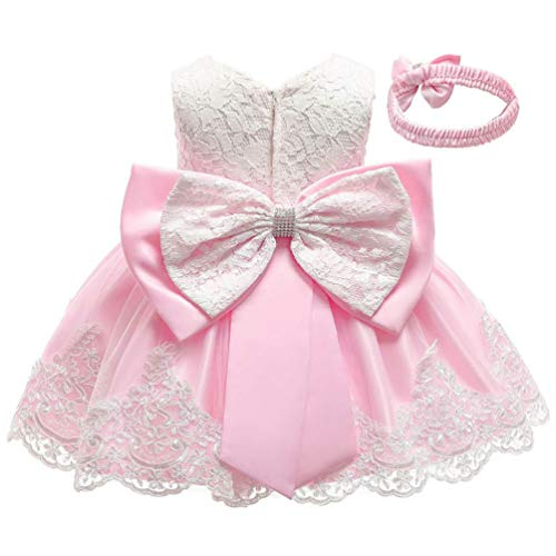 KILO&METERS Formal Prom Summer Wedding Girls Dresses A-line Sleeveless Knee Length Tutu Ruffle Kids Dress Princess Christeing Birthday Party Baby Dress 24M Cute Pink]()