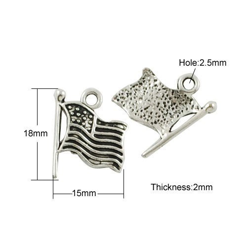 Pendant Charm Usa Flag (Packet of 10 x Antique Silver Tibetan 18mm Charms Pendants (Flag Of Usa) - (ZX14955) - Charming Beads)
