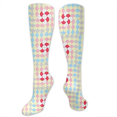 Circle Square Polyester Cotton Over Knee Leg High Socks Fun Unisex Thigh Stockings Cosplay Boot Long Tube Socks for Sports Gym Yoga Hiking Cycling Running Soccer