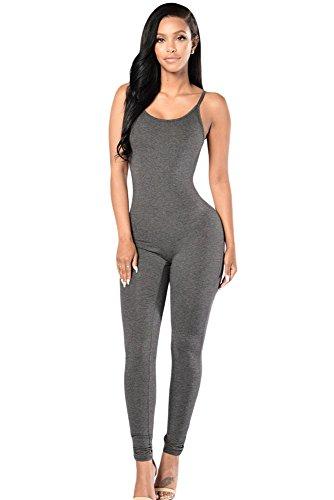 NEW Mesdames gris à spaghetti Sangle 1pièce combinaison Femme Skinny pour Femme Body Club Wear Vêtements Taille M UK 10–12–EU 38–40
