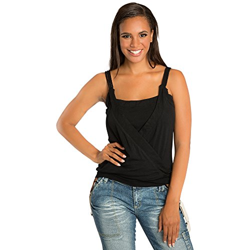 (Sweet Vibes Juniors Black Stretch Jersey Surplice Tank Top with Braided Straps Size L)