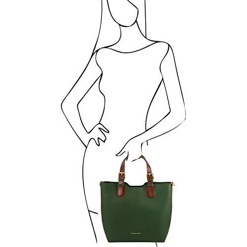 in Tuscany Viola pelle Verde a mano TL Borsa Leather Saffiano Bag TL141696 rBvwxqY6rO
