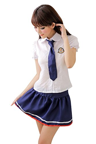 Shangrui Mujer Los Estudiantes Que Reciben Cosplay Traje Uniformes Marinero de la Tentación Lencería Mordaz YF099 Blanco