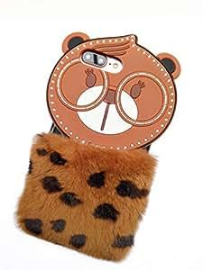 Soft TPU Protective Case Cover iPhone X Cute Cartoon Plush Bear Phone Case for Girl Women - Brown