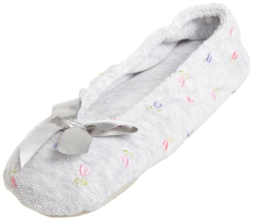 Slipper Women's Heather Isotoner Terry Ballerina Embroidered vS6nwqI