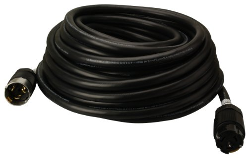 Coleman Cable 01918 50-Amp Twist-Lock Generator Power Extension Cord, 6/3 & 8/1 SEOW Black, 50-Foot
