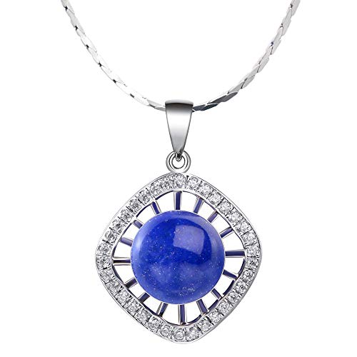 - iSTONE 925 Sterling Silver Natural Lapis Lazuli Ladies Round Bead Pendant Necklace, Gemstone Birthstone with 18