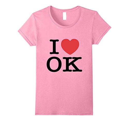 Womens I Love Ok Heart Oklahoma Tee Shirt Large Pink
