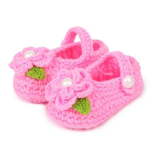 Mosunx Infant Baby Girl Toddler Prewalker Crib Crochet Handmade Knit Rose Shoes (Pink)