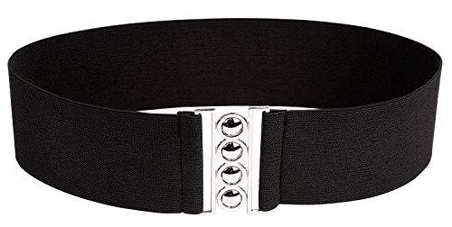 Modeway Women 3'' Wide Belt Elastic Stretch Waist Belt, Metal Buckle Waistband (XL-XXL,Black) A2-3