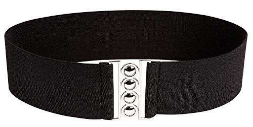 Modeway Women 3inch Elastic Stretch Wide Black Elastic Belt With Silver Buckle(S-M,Black) -