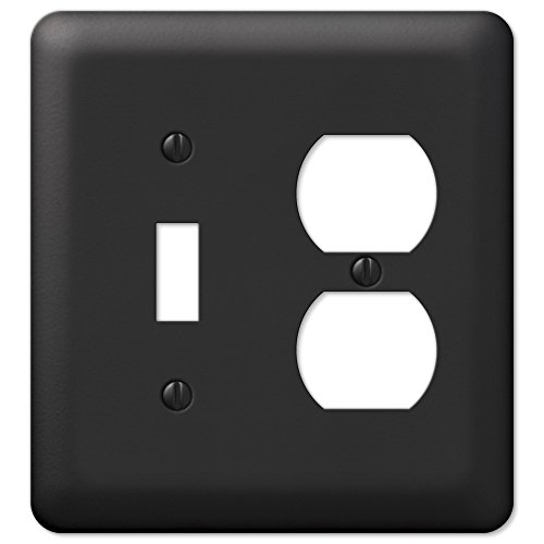 Black Metal Toggle Switch Duplex Outlet Wall Plate Cover Combo Enamel Finish