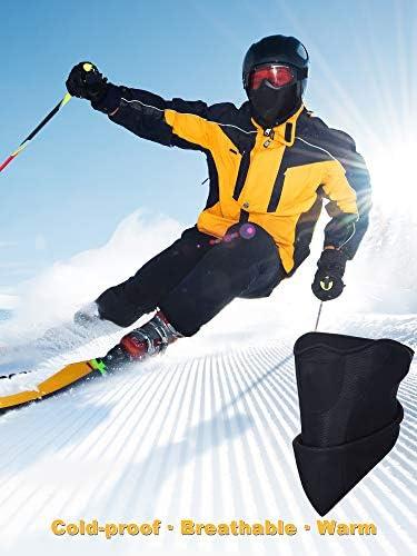 Boao 2 Packs M/áscara de Esqu/í Antiviento Negra M/áscara de Mitad de Cara de Tiempo Fr/ío con Agujero Respirable para Deportes al Aire Libre de Invierno