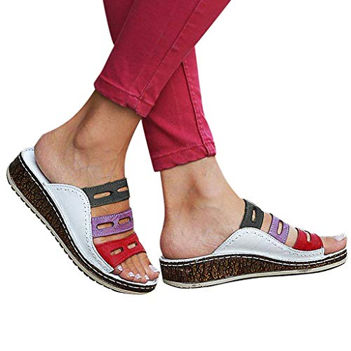 bb148618a4c9f Wkgre Womens Casual Slipper Ladies Travel Classic Vintage Fashion Mixed  Color Slip On Wedges Sandals Breathable Shoes (7.5, White)