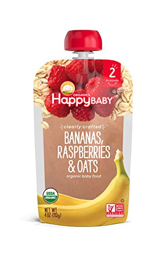 Happy Baby Clearly Crafted Organic Baby Food Stage 2, Bananas Raspberries & Oats, 4 Ounce, 16 Count by Happy Baby (Image #2)