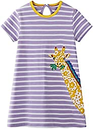 HenzWorld Kids Girls Long Sleeve Cotton Dress Rainbow Unicorn Clothes Toddler Child Striped Party Outfit 2-7 Y
