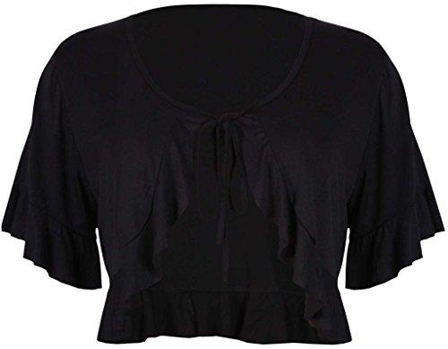 R KON Women's Short Sleeve Ladies Frill Tie Cropped Cardigan Bolero Shrug Top Black US 12 UK 16 - Frill Detail Cardigan