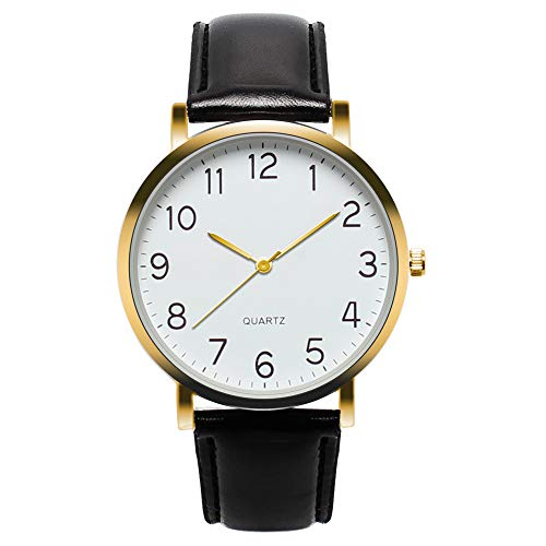 Unisex Wrist Watch - Leather Classic Watches - Quartz Business Stainless Steel Analog Watch for Women Men ()