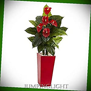 JumpingLight Anthurium Artificial Plant in Red Tower Vase, 53'' Artificial Flowers Wedding Party Centerpieces Arrangements Bouquets Supplies 67