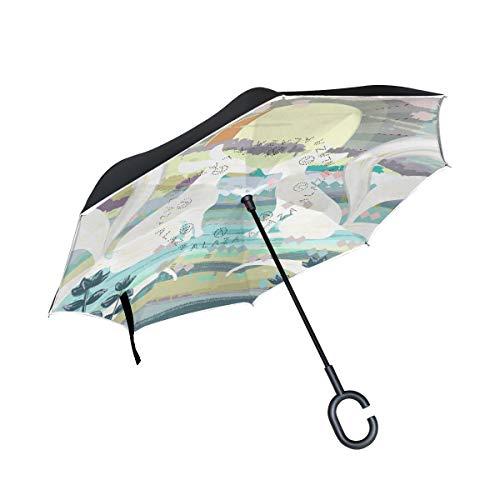 Mr.XZY Double Layer Inverted Monster Fox Sun Wood Japanese Style Q Version Fantasy Cartoon Umbrella,Reverse Umbrella Windproof Upside Down Straight Umbrella with C-Shaped Handle 201438]()