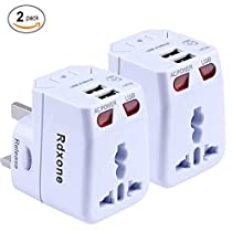 Universal Travel Adapter,Rdxone World Travel Adapter Kit with 2 USB AU/US/UK/EU Adapter Plug for Europe Ireland Australia Italy About 150 Countries, with Spare Fuse