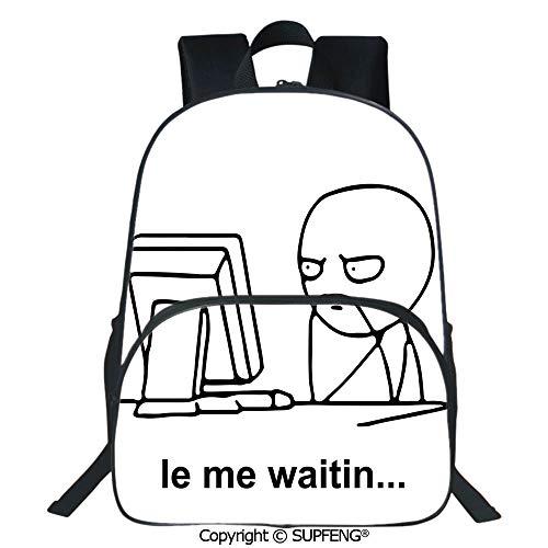 SCOXIXI School Back Stickman Meme Face Icon Looking at Computer Joyful Fun Caricature Comic Design (15.75
