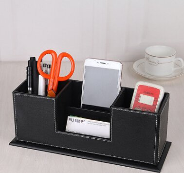 Creative Leather Pen Holder Card Case Office Desk Storage Stationery  Storage Box Multi Function Pen