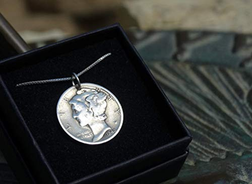 (Silver Mercury Dime Pendant by Liberty Goddess (includes Sterling Silver Chain, Specialized Polishing Cloth, and Black Velvet Gift Box))