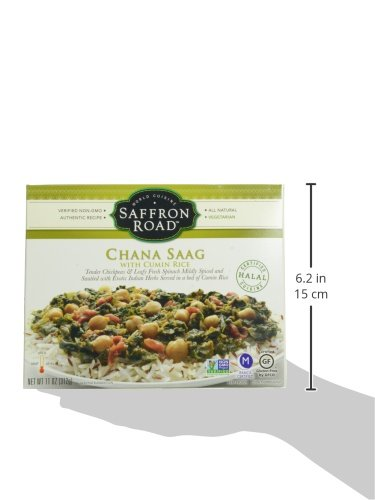 Saffron Road, Chana Saag with Cumin Rice, 11 oz (Frozen): Amazon.com: Grocery & Gourmet Food