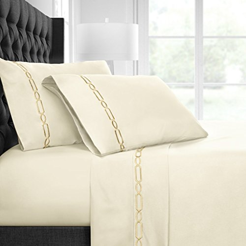 Egyptian Luxury Embroidered Bed Sheet Set – Ultra Soft Premium 1500 Series w/ Beautiful Fretwork Embroidery – Wrinkle & Fade Resistant, Hypoallergenic 4 Piece Set - Queen - Cream/Gold