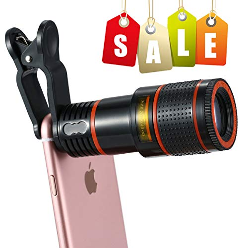 Cell Phone Camera Lens,EZVING 12X Zoom Telephoto Universal Clip On Lens Kit Suit iPhone 7/6S/6 Plus/5/4,Samsung,Android and Other Smart Phones