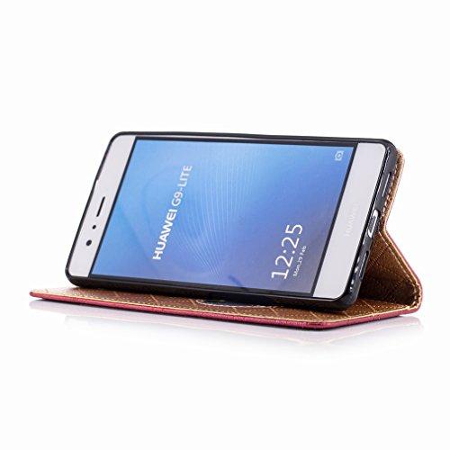 Yiizy Huawei P9 Lite Funda, Amar Diseño Solapa Flip Billetera Carcasa Tapa Estuches Premium PU Cuero Cover Cáscara Bumper Protector Slim Piel Shell Case Stand Ranura para Tarjetas Estilo (Rojo)