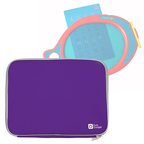 Purple Travel Water Resistant & Shock Absorbent Neoprene Case With Dual Zips Compatible with the Boogie Board Play N Trace - by DURAGADGET