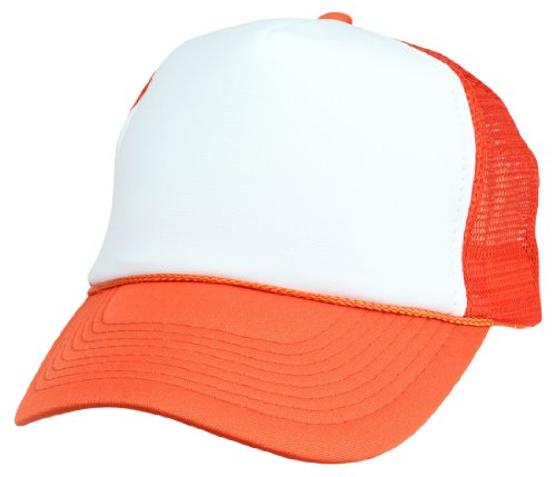 DALIX Two Tone Trucker Cap in Orange and White Hat