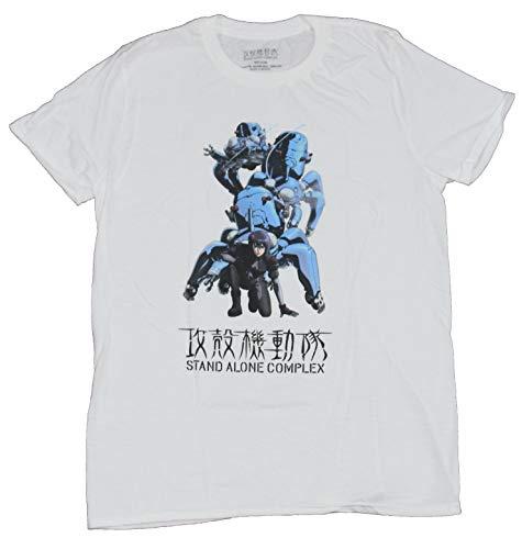 Ghost in The Shell Stand Alone Complex Mens T-Shirt - Motoko Kusanagi & Tachikoma (X-Large) White