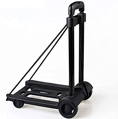 Folding Hand Truck?Lightweight Folding Shopping Cart Folding Baggage Car Extendable Handle Carrier Luggage Car for Travel Shopping Office 20 Kg Capacity Heavy , Black