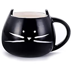 Asmwo Cute Cat Ceramic Mug Funny Cat Shaped Cup for Coffee Tea Black,12 oz