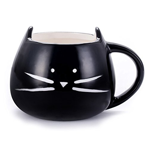 Asmwo Cute Cat Ceramic Mug Funny Cat Shaped Cup for Coffee Tea Black,12 oz Valentine's Day Gifts -
