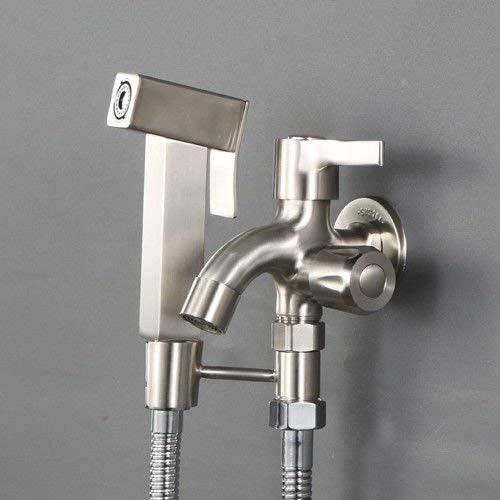 JingJingnet シンクミキサータップ浴室の台所の洗面器の蛇口漏れ防止保存水ステンレス鋼パンチフリーのプライマーシャワートイレスプレーガン加圧スプリンクラーキット配管継手フラッシュ (Color : F) B07RKMGDW2 F