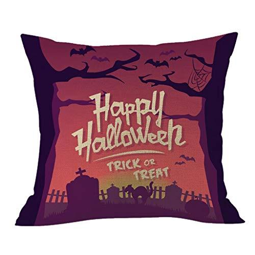 Aqua Halloween Lyrics (Unionm 10# Pillow Covers Decorative Throw Pillow Case Halloween Theme Printed 43cm x 43cm 17 x 17 inches Flax Cushion Cover for Home Sofa Car 1)