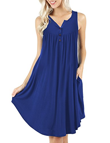 Color MEROKEETY Casual Button Swing Pockets with T Solid up Dress Shirt Royal Women's Sleeveless wYrqUXY
