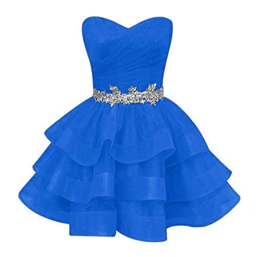 Sweetheart Pettus Prom Sash Gowns P534 Dresses Party Sequins Women's Short Ruffle Homecoming Beads Blue r5rw8q
